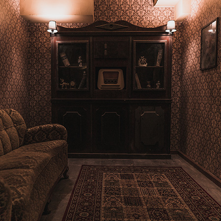 A wrecked haunted living room